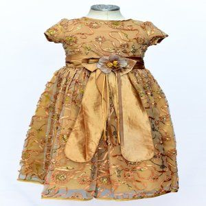 Girls Gold Party Dress